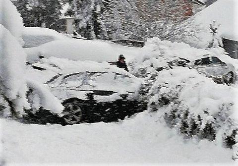 I HEKKEN: Denne bilen står i en hekk og sperrer Fransåsbakken. Beboere i området kan nå bare håpe redningstjenesten eller gode naboer får bilen på rett kjøl igjen.