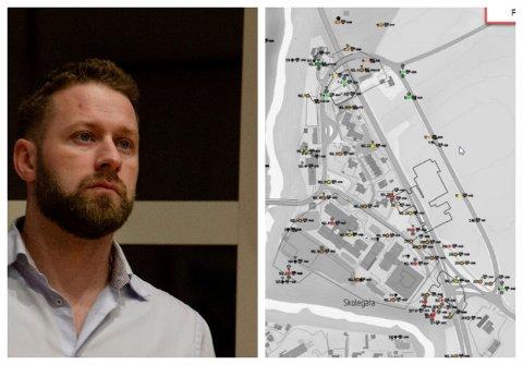 BOREPUNKTER: Flere lesere har stusset over at det tilsynelatende ikke er boret under den planlagte skolebygningen. Prosjektleder Martin Hagen svarer opp.