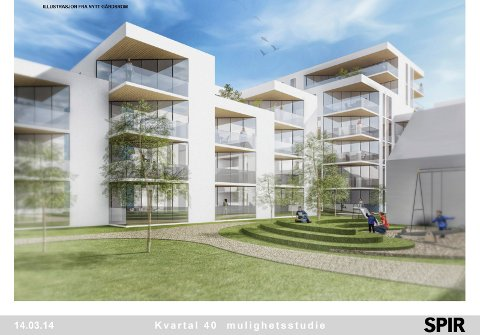 Slik ser Spir arkitekter AS for seg at gårdsrommet i Kvartal 40 kan se ut.