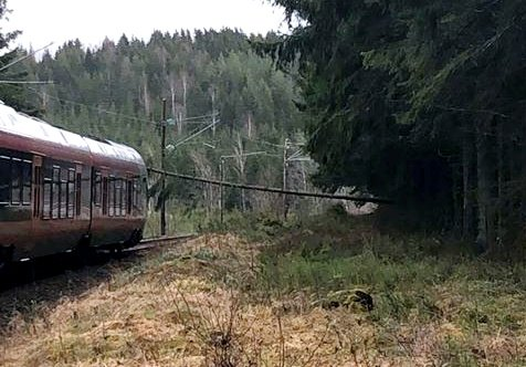 Her sperrer treet for toget, fire-fem kilometer før Askim.