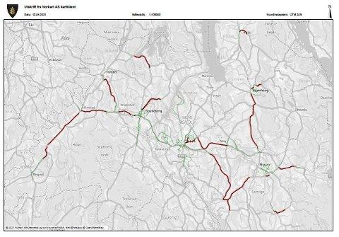 Grønn farge viser hvor det er gang- og sykkelvei i Indre Østfold kommune. Rød farge viser planlagte gang- og sykkelveier.