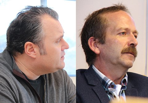 Bjarte S. Dagestad (til venstre) er toppkandidaten for Forsand Høgre til valet. Kåre Oaland er overraska over at han ikkje fekk halda fram som listetopp.