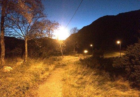 USTABILT: I høst har ikke lysløypa på Fureneset ved Jørpeland fungert som den skal. Lyset har vært ustabilt. Privat foto.