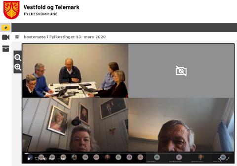 DIGITALT: Fylkestingsmøtet ble gjennomført i plattformen Microsoft Teams. Foto: Skjermdump VTFK