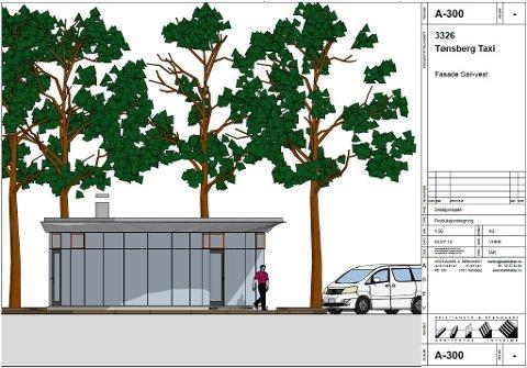 NY DROSJEBU: KB Arkitekter er søker på vegne av Tønsberg Taxi. Slik tenker arkitektene seg en ny drosjebu på Farmannstorvet. Den skal inneholde hvilerom, toaletter og møterom.