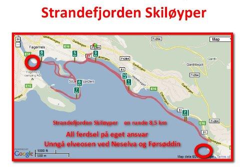 Strandefjorden skiløyper: Ei runde er på cirka 8,5 kilometer.