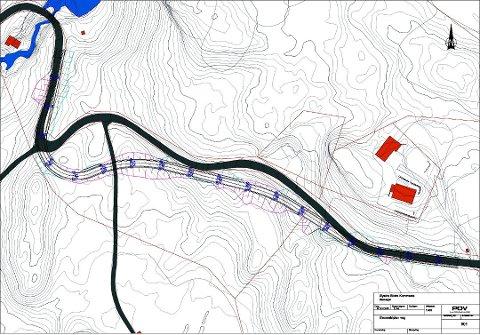 Dalsvegen: Skisse av delar av den nye traseen frå Dale bru (øverst t.v.) oppover mot Varpet. Heiltrekt strek er den gamle vegen.