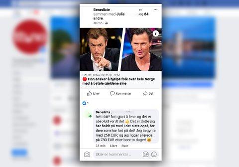 NY SVINDELMETODE: Slik kan et innlegg se ut, der det tilsynelatende virker som at facebookvennen har lagt ut innlegget selv. Det har hun eller han som oftest ikke.