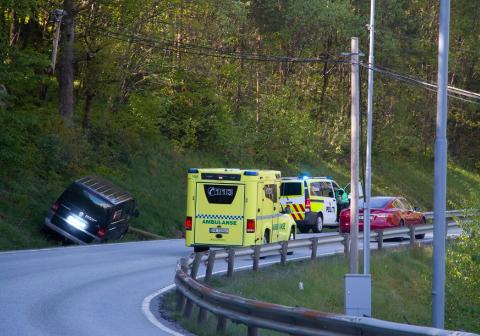 UTFOR: Varebilen skjente over veien og endte i grøfta.