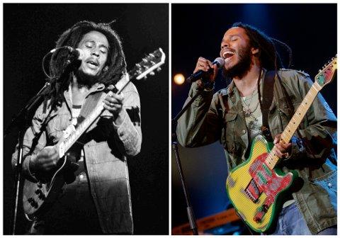 Reggae-legenden Bob Marley fra en konsert i Paris i juli 1980. Til høyre er Ziggy Marley, Bobs eldste sønn, i Sveits sommeren 2006.