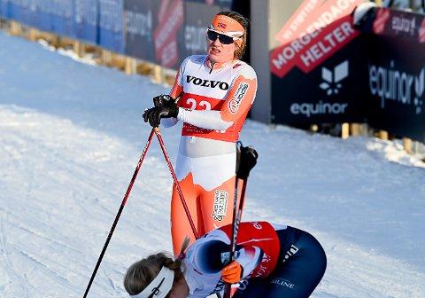 SLÅTT UT I KVARTEN: Margrete Røssum Dyrhovd fra Krødsherad IL tok seg helt til kvartfinalen i sprinten under langrennsåpningen på Beitostølen fredag.