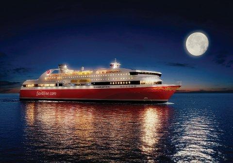 """MS """"Stavangerfjord"""" blir ikke klar før i mai neste år, men vil da være den første cruiseferja i verden som utelukkende drives av naturgass (LNG)."""