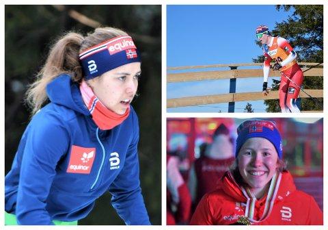 F.v.: Margrethe Bergane, Martin Kirkeberg Mørk og gullvinner på 5 km klassisk Helene Marie Fossesholm går fellesstarter i VM torsdag.