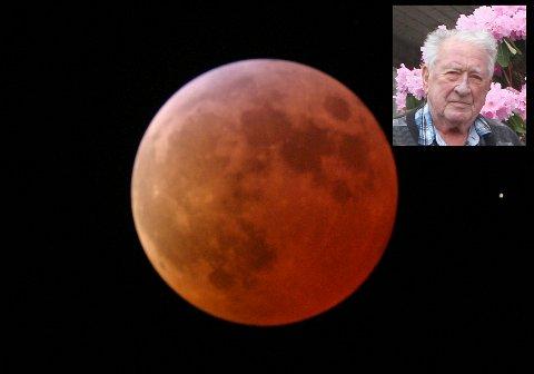 BLODMÅNE: Månen forsvinn ikkje i mørket under ein totalformørking, men får ofte eit  raudleg skjer.   (Public domain)
