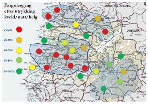 ULIKSKAP: Utrykkingane frå legevakt utanom dagtid minkar med avstanda til legevaktstasjonen (Førde hos SYS–IKL, Nordfjordeid hos Nordfjord-samarbeidet). Forklaring på fargekodane til venstre i figuren.
