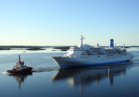 Vil bli cruisehavn: I 2017 fikk Fredrikstad besøk av cruiseskipet Thomson Celebration. Flertallet i formannskapet satte av penger til cruisesatsing, men møtte motstand. (Arkivfoto: Tor Gravnås)