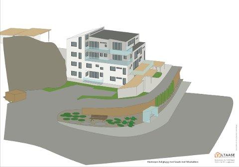 Slik ser utbyggerne for seg boligbygget ut mot Nilsabakken.