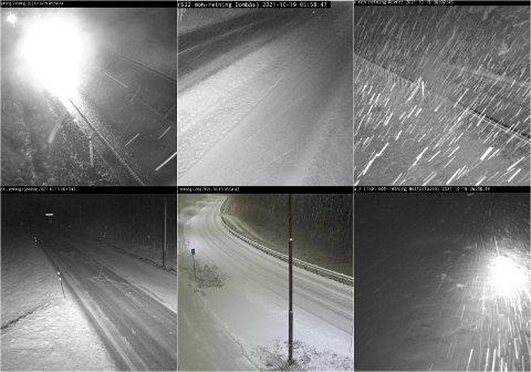 Bildet viser vegene i Gudbrandsdalen tirsdag morgen, tatt av Statens vegvesens webkameraer.