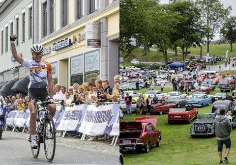 KOLLISJON: Neste sommer arrangeres sykkelrittet Ladies Tour of Norway og bilfesten Grensetreffet samme helg. Fotomontasje
