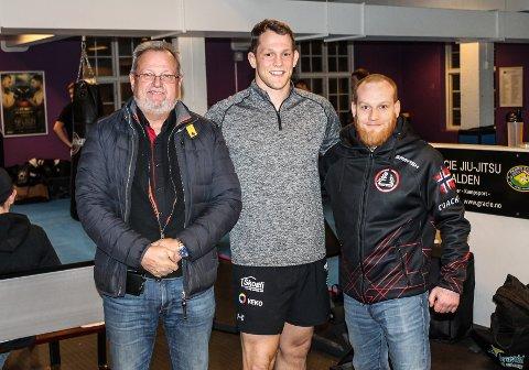 STORFINT MMA-BESØK: f.v Bent Skogli, Mathin Hamlet og Alexander Møller Øraas.