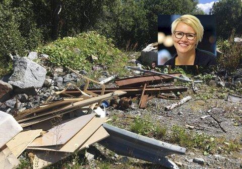 Diverse: Restar frå rivinga av motellet blanda med møblar som privatpersonar tilsynelatande har dumpa på tomta. Foto: Privat
