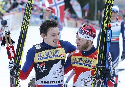 Martin Johnsrud Sundby og Finn-Hågen Krogh (t.v) tjener ikke like mye på å gå opp slalombakken, enn hva Lund Svindal & co. gjør nedover bakken. Foto: Terje Pedersen / NTB scanpix
