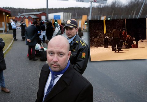 Justisminister Anders Anundsen besøkte Storskog 20. oktober. Innfelt et bilde tatt 27. november, hvor en familie som ble nektet innreise i både Norge og Russland, satte seg ned i grensegata. Til slutt måtte Norge ta dem tilbake (Foto: Thomas Nilsen, The Independent Barents Observer).