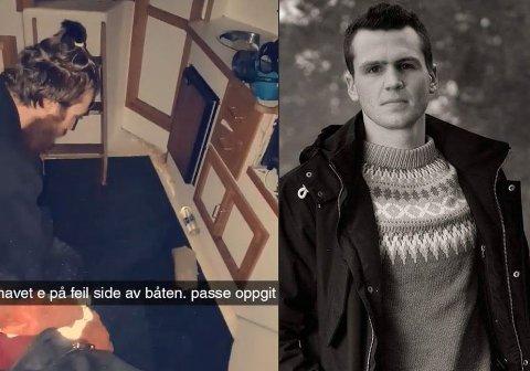 FIKK TRØBBEL: Christoffer Brox ble skremt da de ble avskåret fra omverdenen.