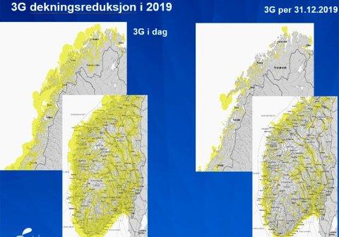 GÅR NED: Til venstre ser vi 3G-dekningen i landet i dag, og til høyre hvordan den vil bli neste år.