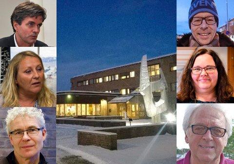 LØNNSSTIGE: Ansatte i Finnmark fylkeskommune har svært varierende lønn, alt etter oppgaver og ansvar. Fra øverst til venstre og med klokken: Øystein Ruud, Per Bjørn Holm-Varsi, Margunn Blix, Tore Gundersen, Trond Magne Henriksen og Hilde C. J. Mietinen. Alle har ledelsesansvar og er blant de bedre lønnede i FFK.