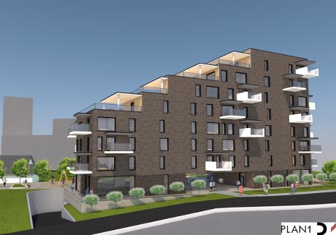 Det planlegges for 28 leiligheter i et nybygg i forlengelsen av gågata på Bjørkelangen.