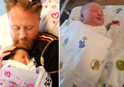 NYE INNBYGGERE: På bare litt over to uker har både Eyvind Jørgensen Schumacher (Ap) og Lars Halvor Stokstad Oserud (Sp) blitt fedre for tredje gang. Til høyre ser du Oseruds datter Lovise, som ble født mandag morgen.