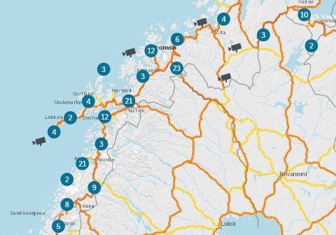 Kameraer i landsdelen vår: Kartet du finner hos Statens vegvesen er interaktivt, så du kan zoome deg inn der du måtte ønske, og åpne kameraene i en gene rute hvis du ønsker.