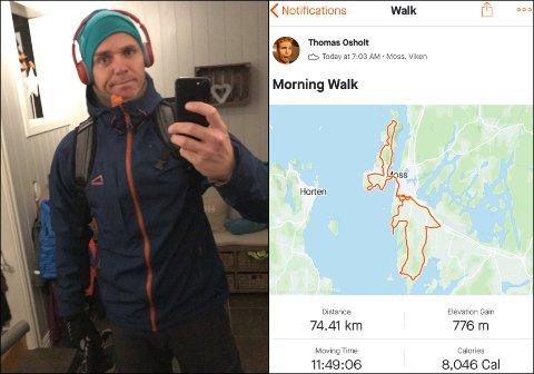 LANGTUR: Thomas Osholt er stadig vekk ute med joggesko på beina. Men distansen han la bak seg lørdag er av de sjeldne, innrømmer han.