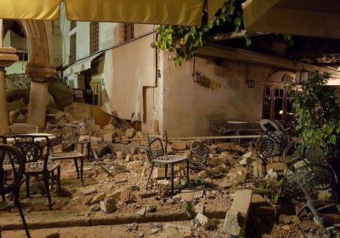 STORE SKADER: Slik så det ut på Kos etter jordskjelvet natt til fredag 21. juli.