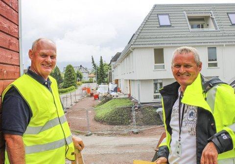 LANG PROSESS: Det er i dag seks år siden prosjektet i Arenfeldts vei først startet. Nå kan utbyggerne Petter Davidsen og Jan Terje Bruun snart glede seg over ferdigstillelsen.