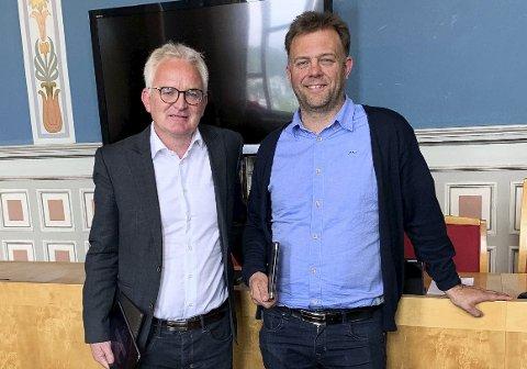 VÆR VARSOM-PLAN: Ingebretsen og Hjartsjø legger opp til at det må gå an å finne en løsning som alle parter kan enes om i Vissevåg. Det gjenstår å se når reguleringsplan kommer opp.