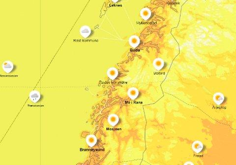 Det blir fint vær de neste dagene - her fra oversikten over været onsdag ettermiddag.
