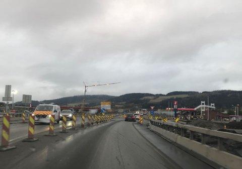 Stenges: E6 mellom Rushøgda (bildet) og Moelv blir stengt i helga på grunn av vegarbeid