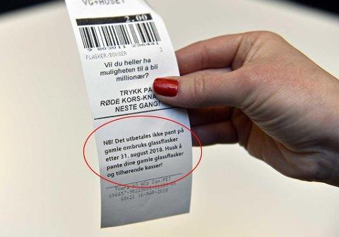 STOPPES: Panteordningen for glassflasker opphører. Foto: Tommy H.S. Brakstad