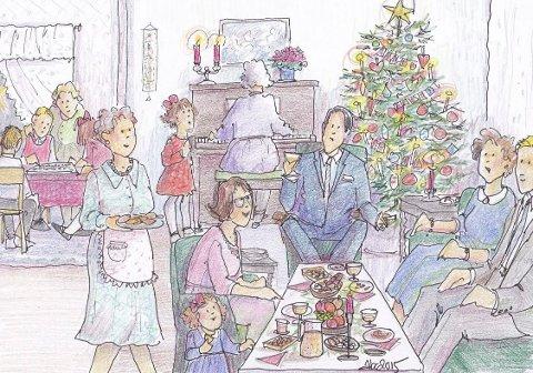 JULESELSKAP: Juleselskap hos tanter. Det var den gang det ble røkt inne, og til jul var det sigarer til og med. Og det var bolle med nøtter. Valnøtter og hasselnøtter, og mandler og paranøtter. Jeg likte fiken, men ikke dadlene. Kremtoppene var gode, mokkabønnene var for sterke, syntes jeg. Og det var kinasjakk eller ludo, og etter kaffen hendte det vi gikk rundt juletreet. (Illustrasjon: Anne-Bjørg Celius)