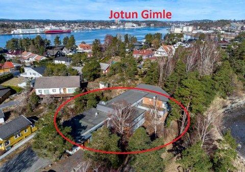TIL SALGS: Jotun har lagt ut den ett mål store eiendommen i strandkanten på Asnes til salgs.