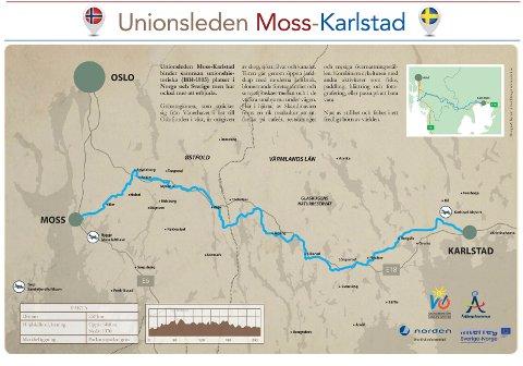Dette kartet viser Unionsleden mellom Moss og Karlstad, som skal friste turister fra fjern og nær til historiske turer på sykkelsetet. Det skal også bli muligheter til lokale avstikkere.