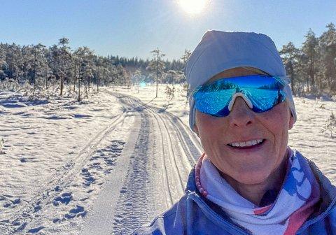 VINTER I INDRE ØSTFOLD: Bente Liseth fra Spydeberg kan anbefale den 6 kilometer lange Holli-runden i Spydeberg.
