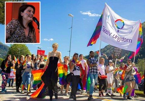 FEIRAR I ÅR OGSÅ: Sofjo Pride og leiar Sandra Edith Kalland Tenud (innfelt) satsar på digital pridemarkering i år.