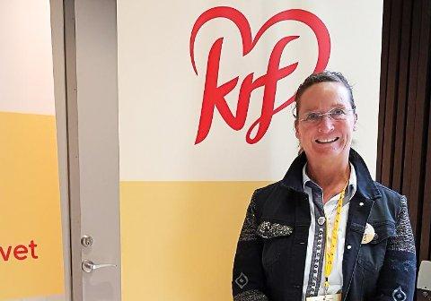"""UTFORDRENDE: KrF-topp Hanne Thürmer i Notodden mener det blir """"utfordrende"""" for henne å gå for en plassering høyt på kommunevalglista i 2019 om partiet hennes går inn i regjering med Fremskrittspartiet. (Bildet er tatt på landsmøtet fredag)"""