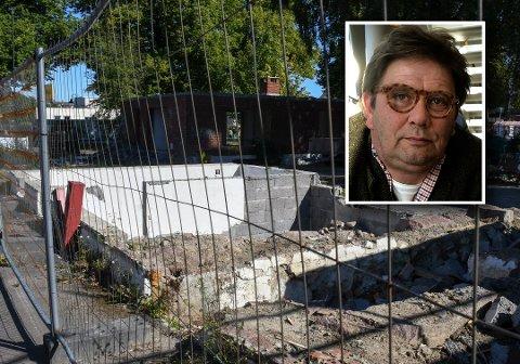 BRAKK: Peter Samuelsen ønsker å bygge på denne tomten i Snorres gate, men Per Martin Aamodt (innfelt bilde) og de andre politikerne politikerne vil ikke la han bygge så høyt som han ønsker. Nå kan tomten bli liggende i brakk i uoverskuelig framtid