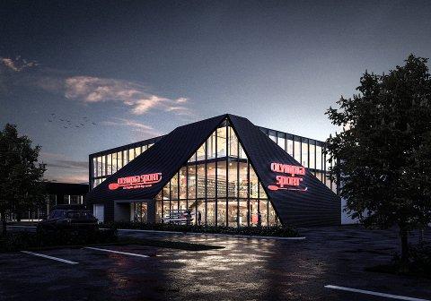 DRØMMEN: Slik ser Olympia Sport for seg nye lokaler med plass til sin virksomhet i vekst. Men om de får lov til å bygge på drømmetomta som Jarlsberg Travbane eier, er slett ikke sikkert.