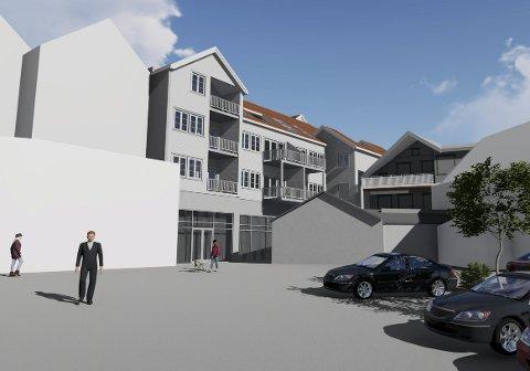 Ved Vinmonopolet: Slik vil bygget se ut fra Knud Knudsens Plass. Illustrasjon: Job Arkitekter AS