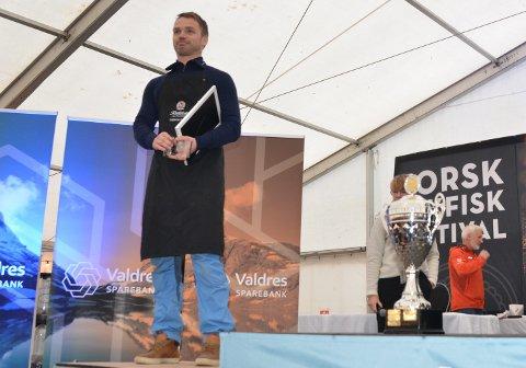 2. plass: Trøsvik Gård ved Audun Øygard tok imot prisen for nest beste fisk i år.